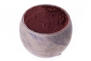 red iron oxide powder in a pot
